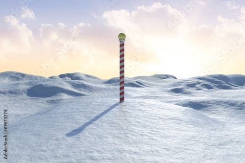In de dag Antarctica 2 Snowy land scape with pole