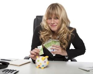 Successful entrepreneur saving her money