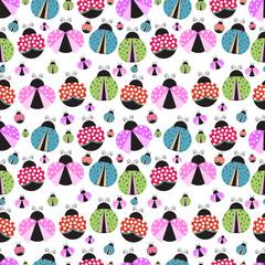 Seamless background with ladybug