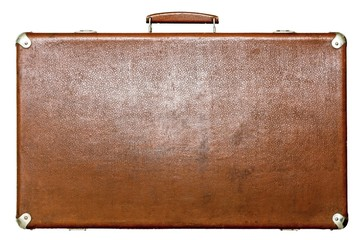 old suitcase of brown color on a white background