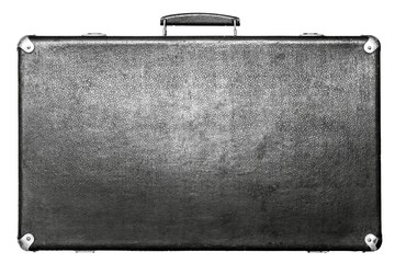 old suitcase of black color on a white background
