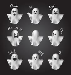 Ghosts emoticon set