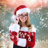 Fototapety Composite image of sexy santa girl wearing spectacles
