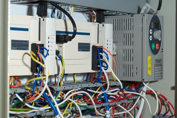 PLC module in a cupboard