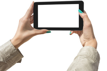 Photographing selfie with tablet