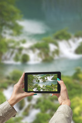 Photographed Plitvice Lakes with tablet