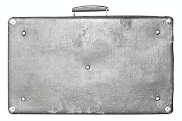old shabby gray suitcase on a white background