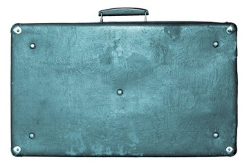 old shabby blue suitcase on a white background