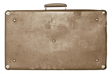 old shabby sepia suitcase on a white background