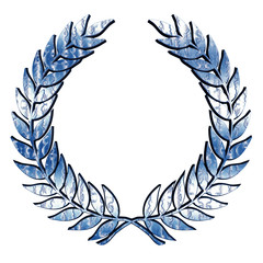 Metallic Laurel Wreath in blue on white