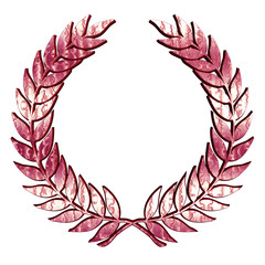 Metallic Laurel Wreath in pink on white