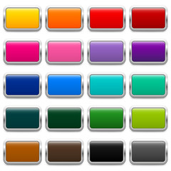 20 glossy metallic rectangular buttons in different colors