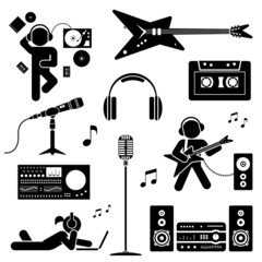 Vector set of various stylized dj icons. Pictogram icon set.