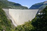 The dam of Verzasca on the Swiss alps