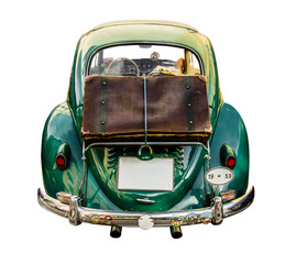 Isolated Vintage Car With Suitcase