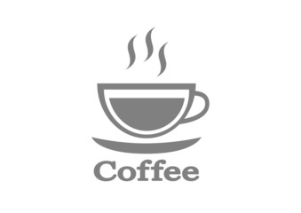 Grey coffee icon on white background
