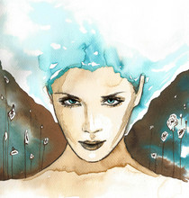 illustration représentant un abstrakcyjnyportret femme