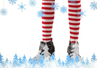 Lower half of girl wearing stripey socks