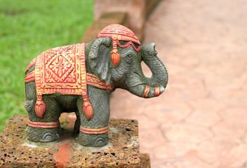 Elephant statues in the garden Taksin in Thailand.