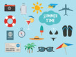 Summer time set with vacation accessories or icons - 69678209