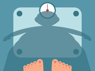 Fat man measuring weight on bathroom scale, vector