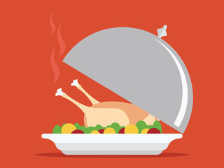 Roasted turkey on tray vector for Thanksgiving