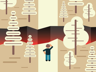 Concept of difficulties, vector illustration