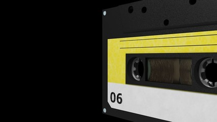 seamless VJ loop - black and yellow retro cassette