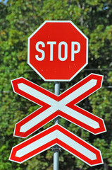 Stop sign at railway crossing