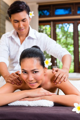 Indonesian Asian woman in wellness day spa