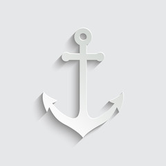 Anchor icon with shadow on a grey background