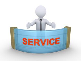 Businessman is providing service