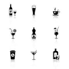 Vector black drinks & beverages icons