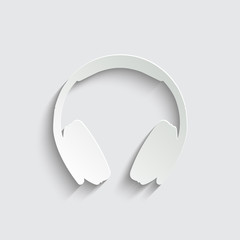 Headphones icon with shadow on a grey background
