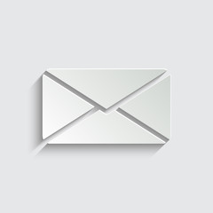 Email icon with shadow on a grey background