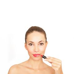 Frau mit rotem Lippenstift