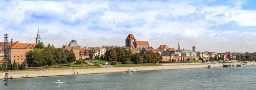 Fototapeta Panoramic view of old town in Torun, Poland.