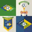 Set of flat design Brazilian soccer labels