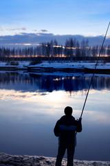 Fishing on Volga canal