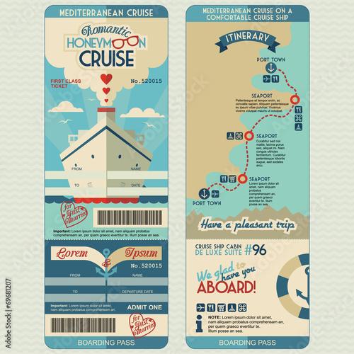 Fototapeta Honeymoon cruise boarding pass