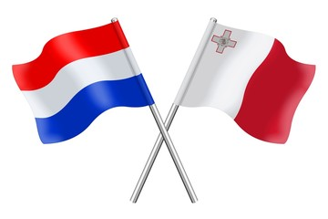 Flags: the Netherlands and Malta
