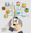 Business computer network. Business hand with mobile template. C