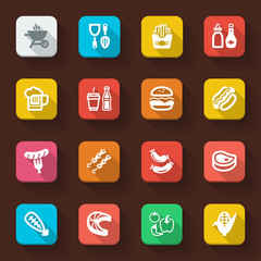 Barbecue flat icons
