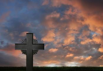 Iron cross sunset
