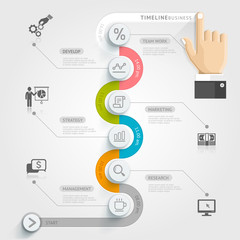 Business timeline infographic template. Vector illustration. can