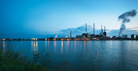 factory at the Danube in Austria in the evening light