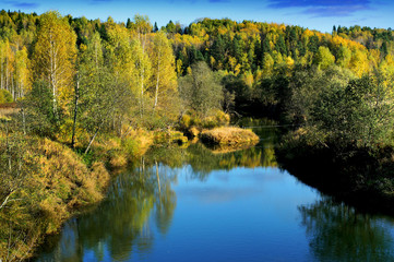 Autumnal nature,river  scenery