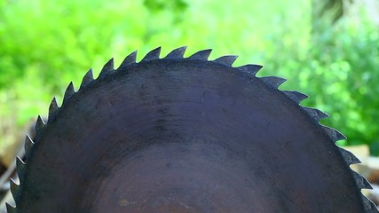 Circular saw at outdoors