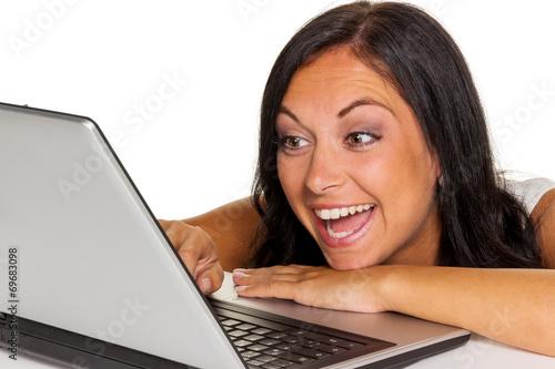 canvas print picture Frau mit Computer