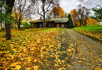 Autumnal nature, old wooden house